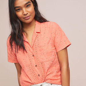 NWOT Maeve Anthropologie Eyelet Guayabera Top
